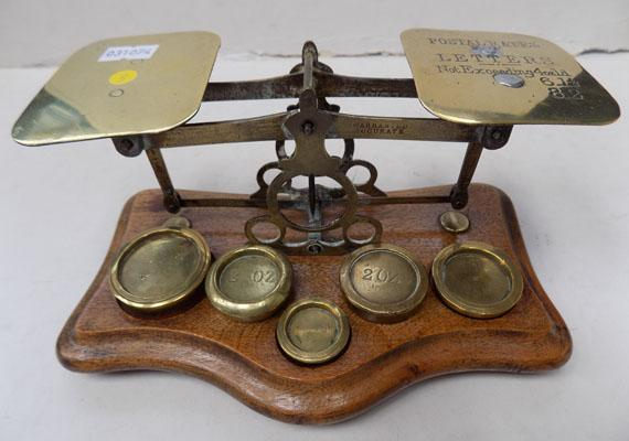 Vintage brass postal scales with weights