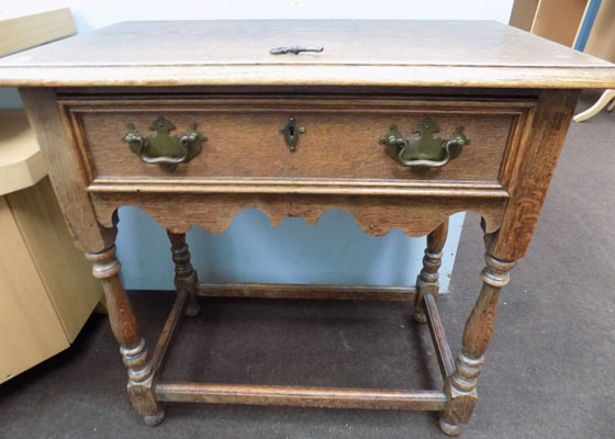 Antique pine hall table with key in office