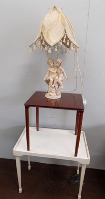 Folding table, small side table & cherub lamp