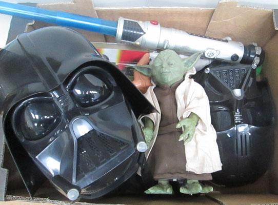 Box of collectable Star Wars items inc Interactive Yoda