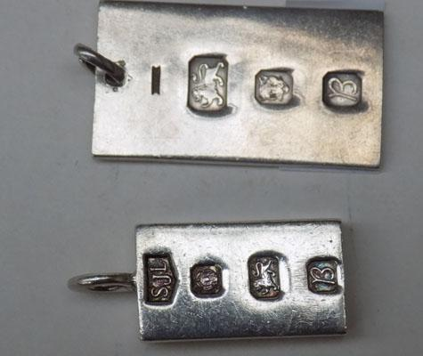 Pair of sterling silver ingots