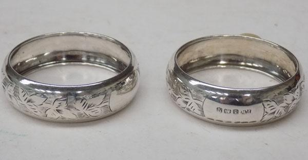 Pair of bright cut sterling silver napkin rings