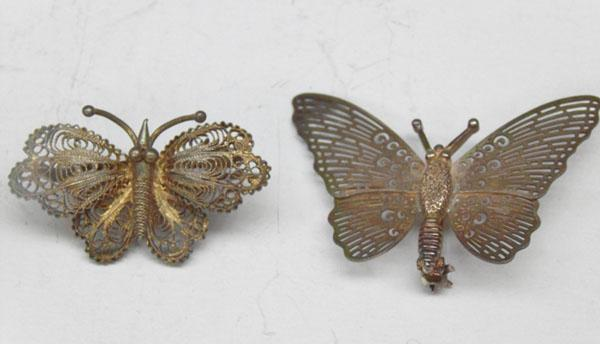 2 Silver butterfly filligree brooches