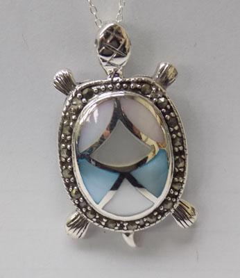 Silver Mother of Pearl & marcasite pendant on silver chain