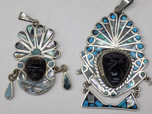 Pair of quality silver & pavashell pendants