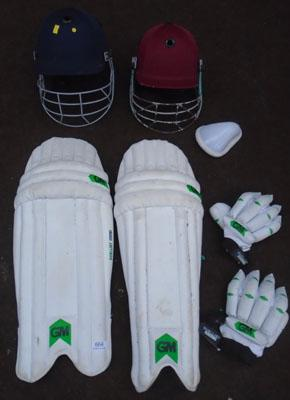 Collection of cricket equipment