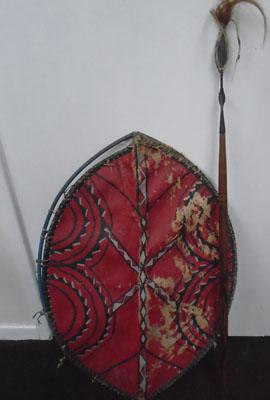 African style spear + shield made of  hide