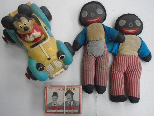 1950's Toys, Gollys, Micky mouse, Laurel + Hardy with films