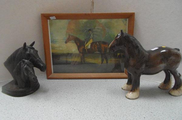 2 Horses & horse framed picture