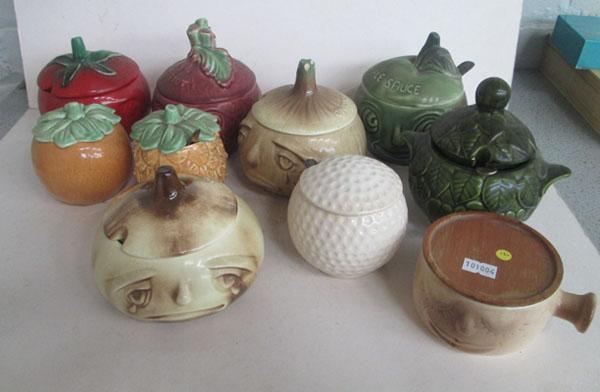 10 Vegetable face pots some Sylvac