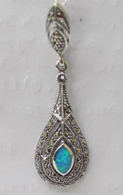 Silver blue opal & marcasite pendant on silver chain