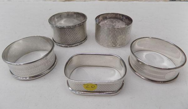 5 Sterling silver, engine turned napkin rings