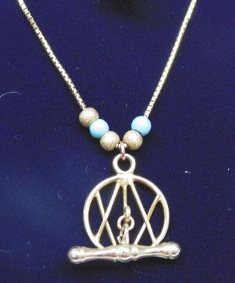 Unusual 9ct gold & turquoise necklace