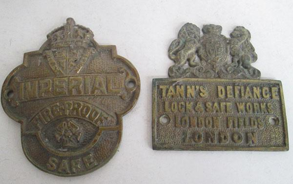 2 Brass safe plaques