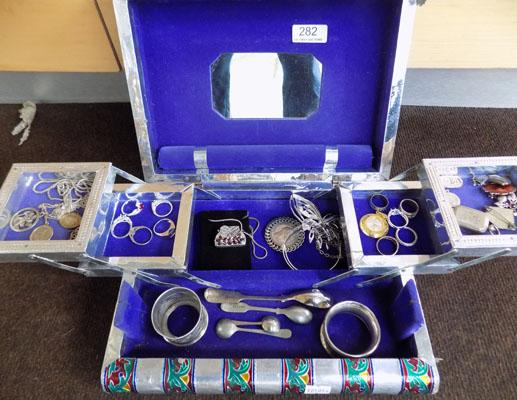 Jewellery box containing silver items