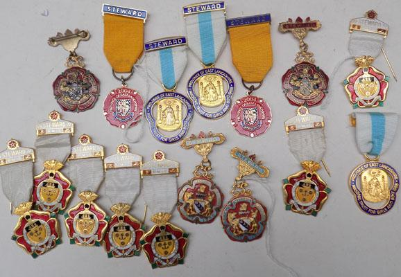 Large collection of silver & enamel Masonic medals