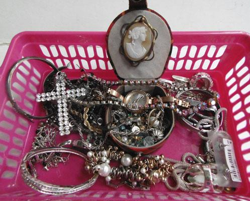 Basket of mixed costume jewellery inc watches, necklaces, ear rings