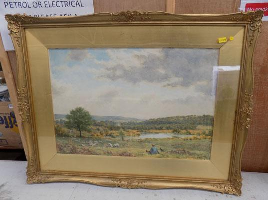 Framed watercolour redford common by H L Dell