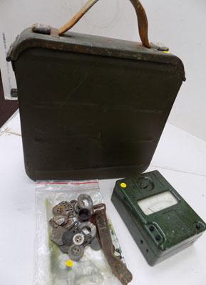 WWII ammo tin in original packaging + WWII relics & tester