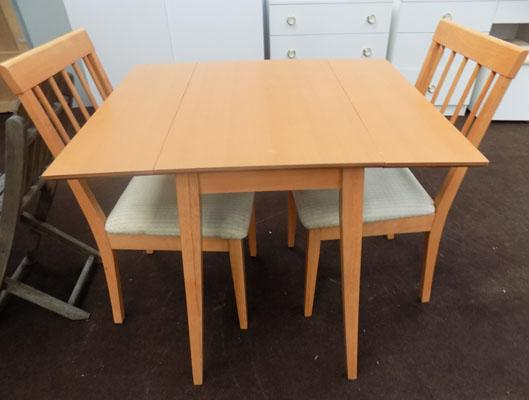 Small drop leaf table & 2 chairs