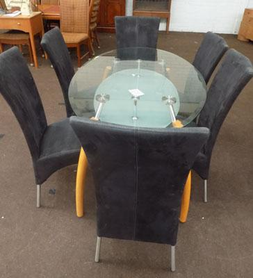 Oval glass dining table & 6 chairs