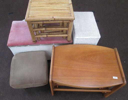 2x Sets of 3 tables, 1 stool, 1 laundry basket & bed chest