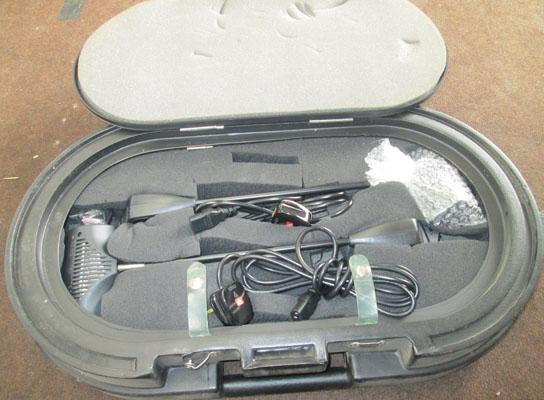 Case containing spotlights