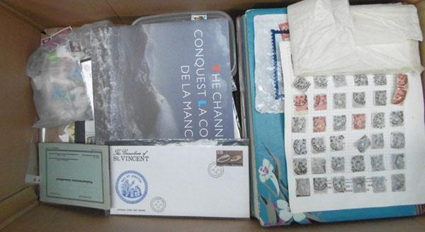 Large box stamp albums, loose stamps