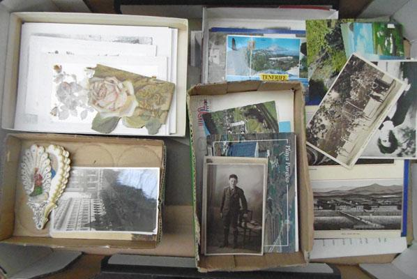 Large box of early postcards etc