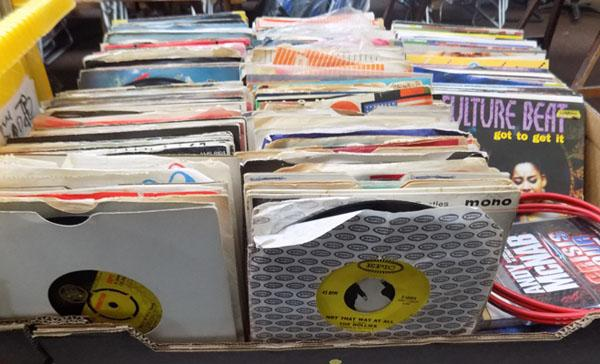 "Box of 7"" singles/EP's-1950's to 1990's"