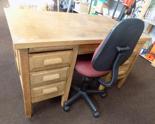 Oak desk with chair