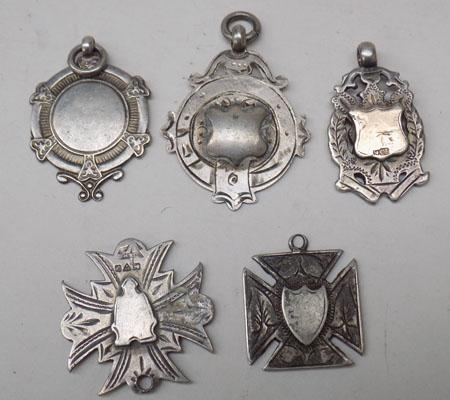 Collection of silver fob watch medals