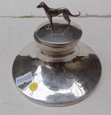 1932 Sterling silver, greyhound trophy/ink well