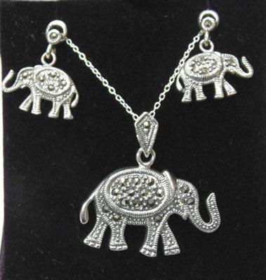Set of silver & marcasite elephant jewellery