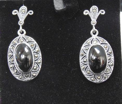Pair of silver jet & marcasite ear rings