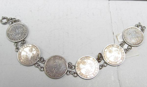 Silver coin bracelet Honk Kong 10 cents coins 1885-1901