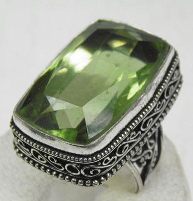 Large 925 silver green amethyst ring