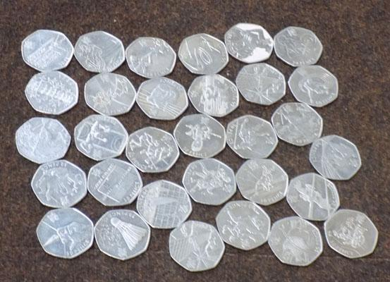 Collection of 'thirty one' 50p Olympic coins