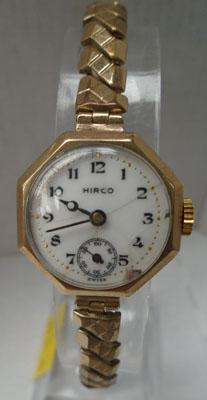 9ct Gold Hirco watch with rolled gold strap