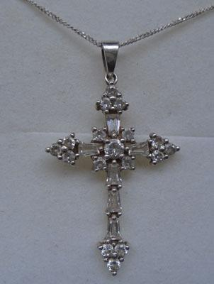 925 Silver CZ cross on silver chain