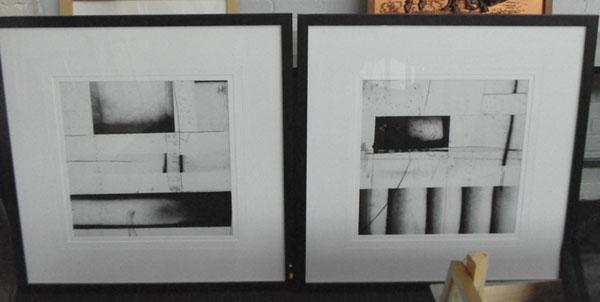 2 Large black & white modernist abstract pictures