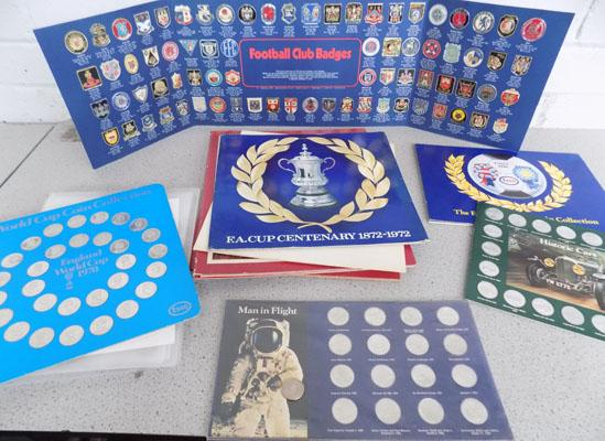 Selection of coins & badges-sporting/military