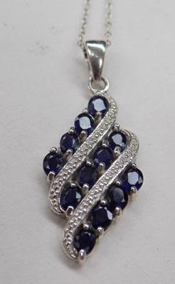 Silver & blue Sapphire necklace