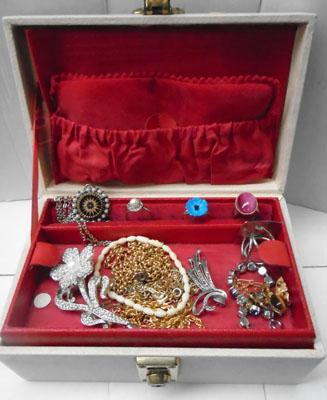 Box of costume jewellery inc silver brooch