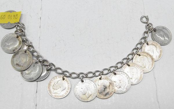 Silver coin bracelet sixpence 1924-1943