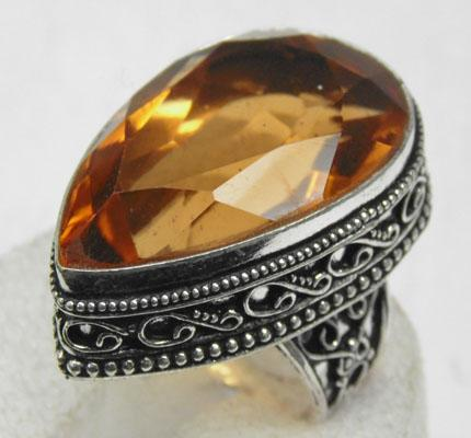 Large 925 silver tear drop citrine ring