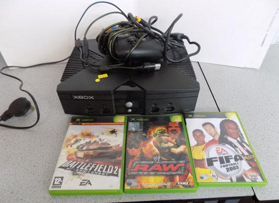 X-box with controller & games