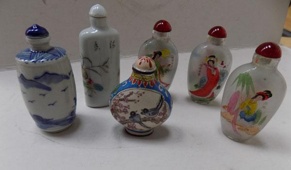 6x Decorated perfume bottles