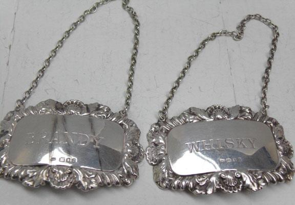 Pair of decanter labels solid silver Whisky & brandy