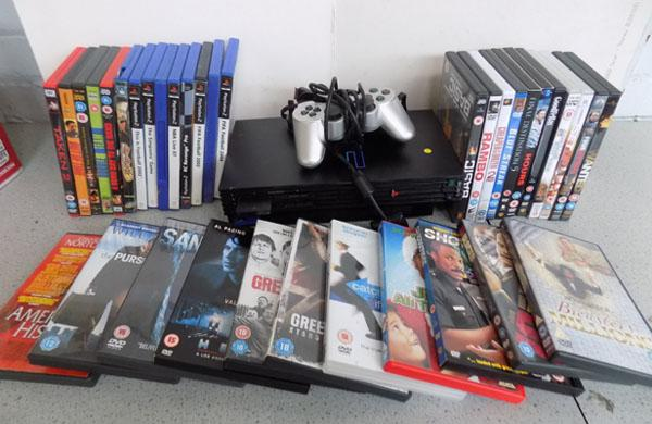 PS2 with games & selection of DVD's